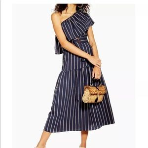 Topshop Sicily striped one shoulder belted dress